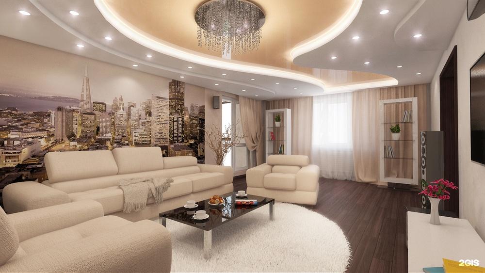 интерьер зала с фотообоями в квартире