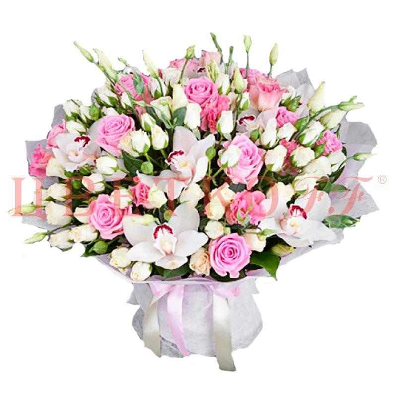 Фрезии, букет на юбилей из роз